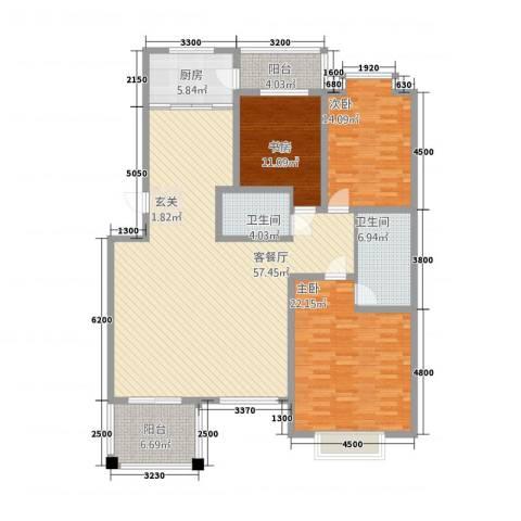 一中后街3室1厅2卫1厨187.00㎡户型图