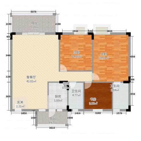 人盛假日花园3室1厅2卫1厨161.00㎡户型图