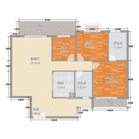 福星豪庭3室1厅2卫1厨154.00㎡户型图