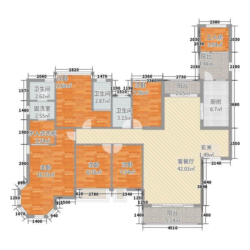 耀宝凯旋豪庭・锦公馆2户型5室2厅3卫1厨
