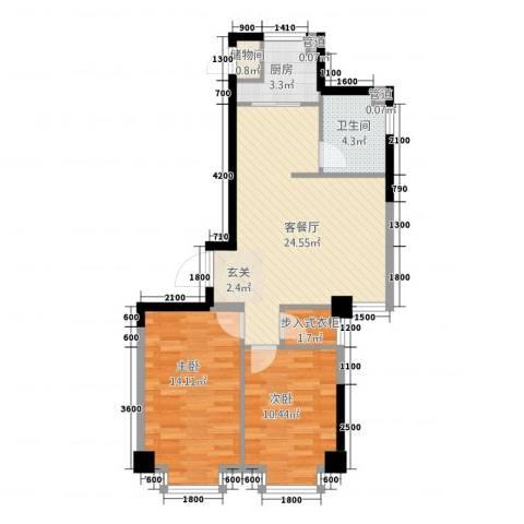 壹号公馆2室1厅1卫1厨85.00㎡户型图