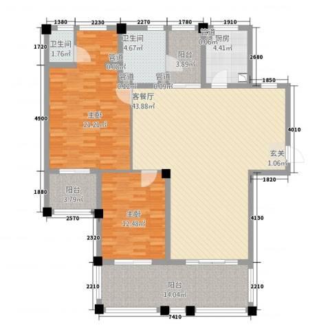 年轮2室1厅2卫1厨132.00㎡户型图