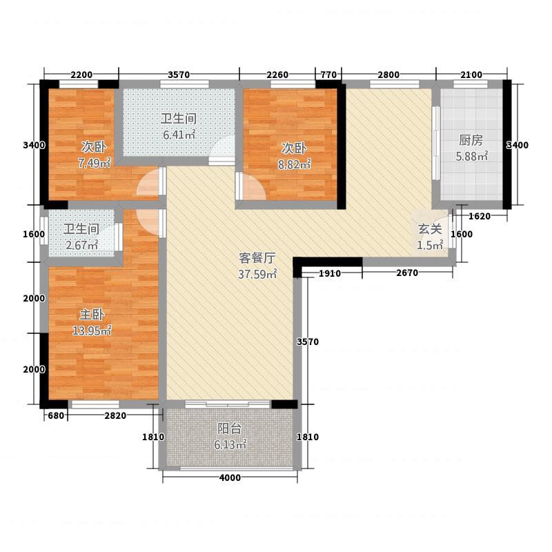 东方丽都12.60㎡2#楼A户型3室2厅2卫1厨