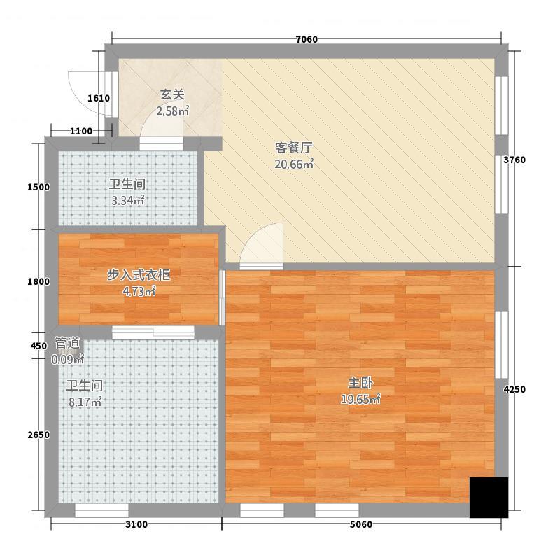 潞鼎国际15.82㎡C座B户型1室1厅1卫1厨
