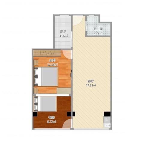 控江三村2室1厅1卫1厨75.00㎡户型图