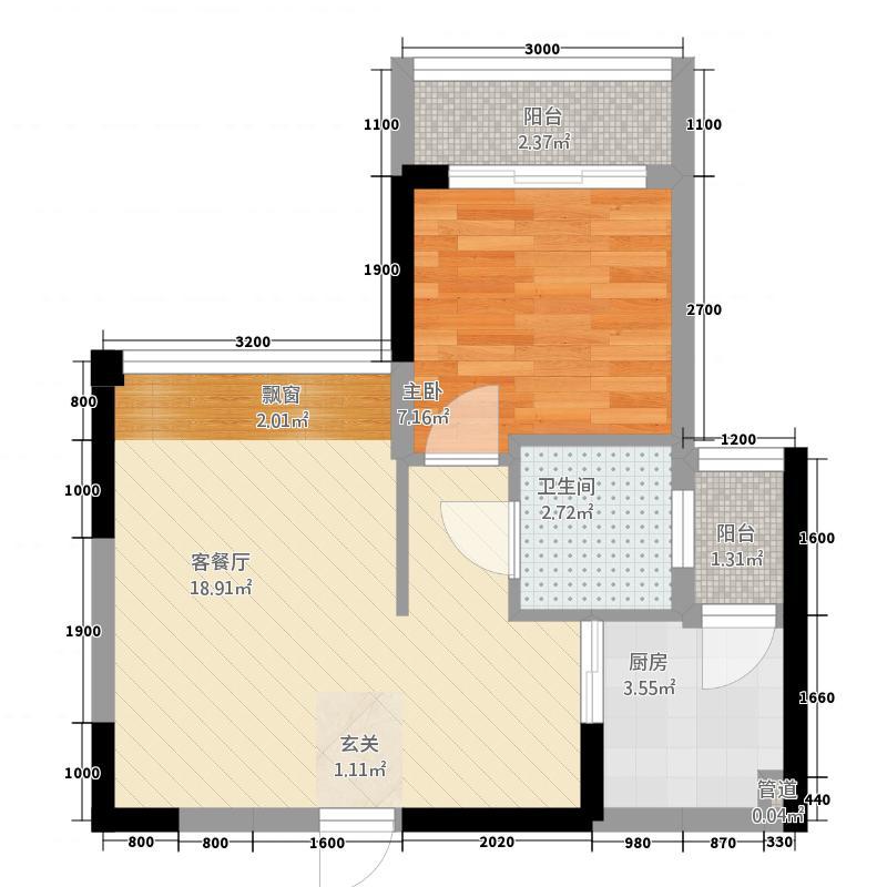 凯盛缤纷MALL5.85㎡2栋1单元02户型1室1厅1卫