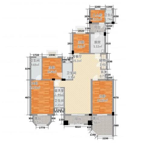 昆山鑫苑国际城市花园4室2厅4卫1厨173.00㎡户型图