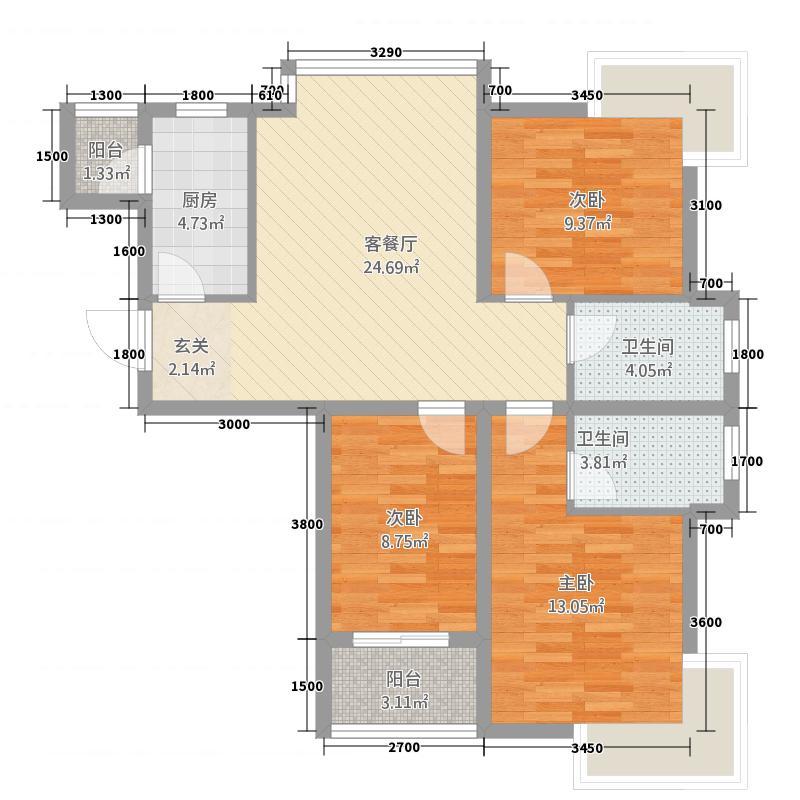 学林雅苑20户型3室2厅2卫1厨