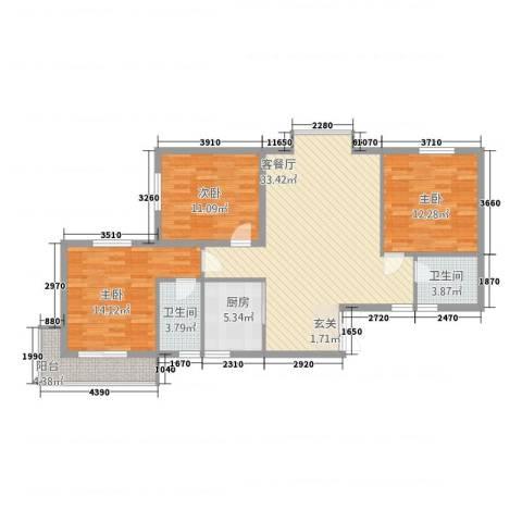利安东庭3室1厅2卫1厨119.00㎡户型图