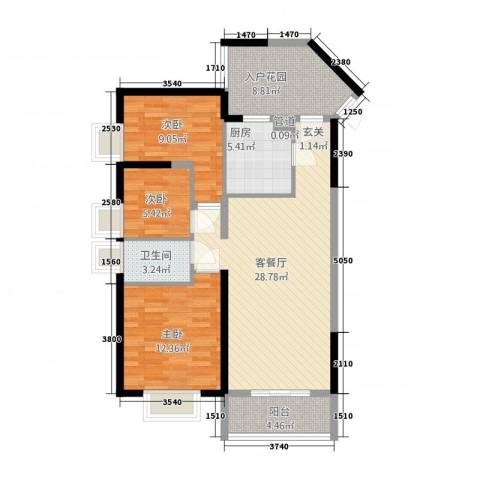 昆山鑫苑国际城市花园3室1厅1卫1厨111.00㎡户型图