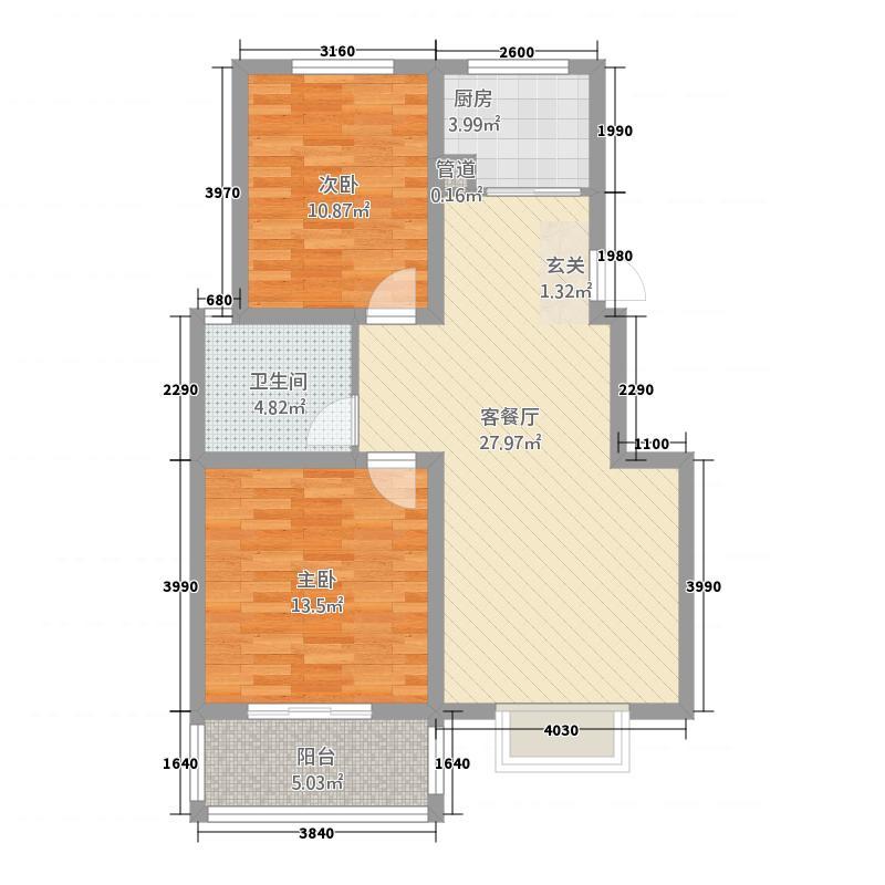 新艺玫瑰园5.00㎡A1户型2室2厅1卫1厨