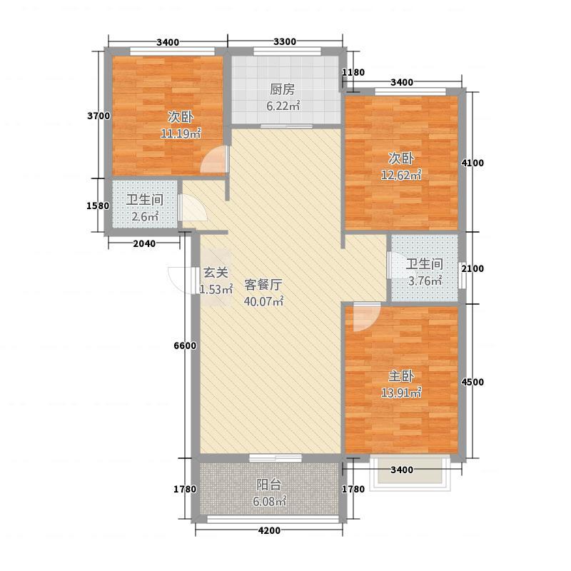 滨河广场2322133.25㎡户型3室2厅2卫1厨