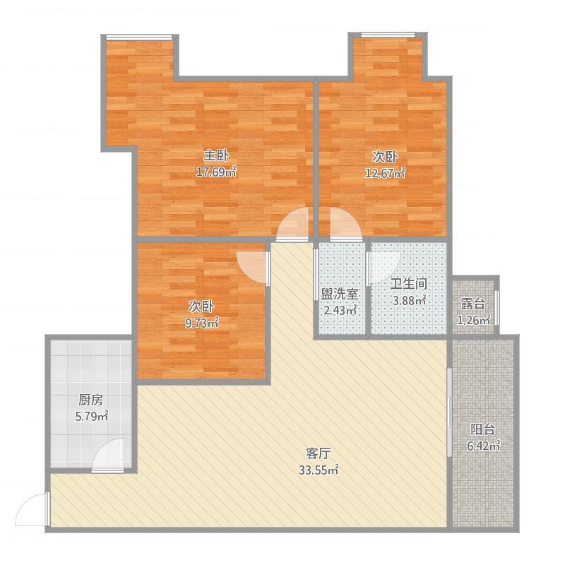 100平三室两厅一卫