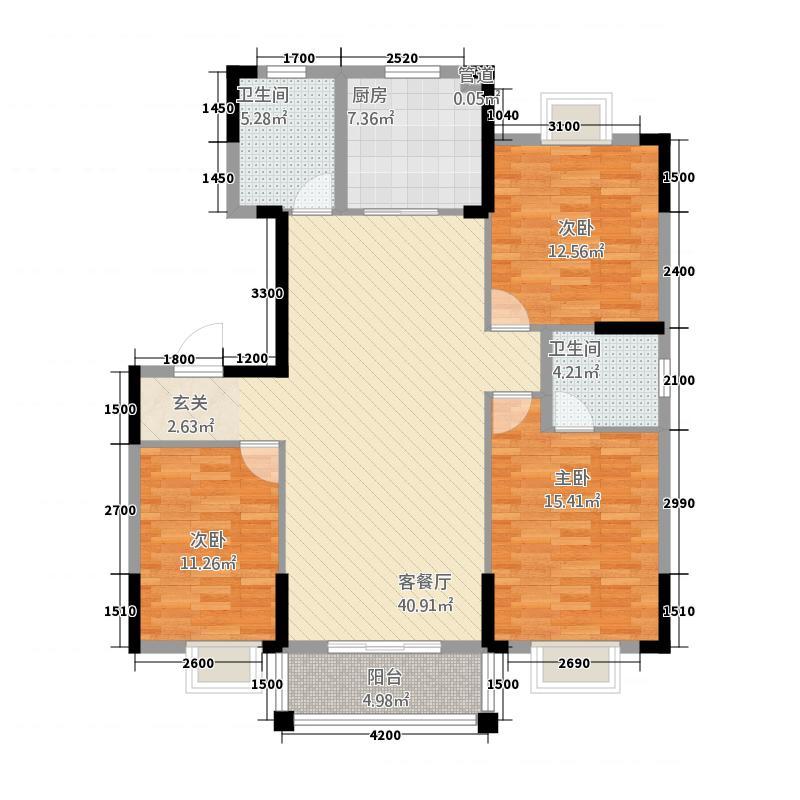东方家园131.86㎡15#/D户型3室2厅2卫1厨