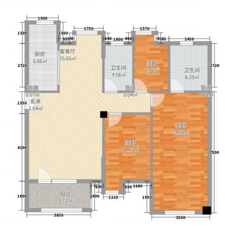 依云小镇3室1厅2卫1厨141.00㎡户型图
