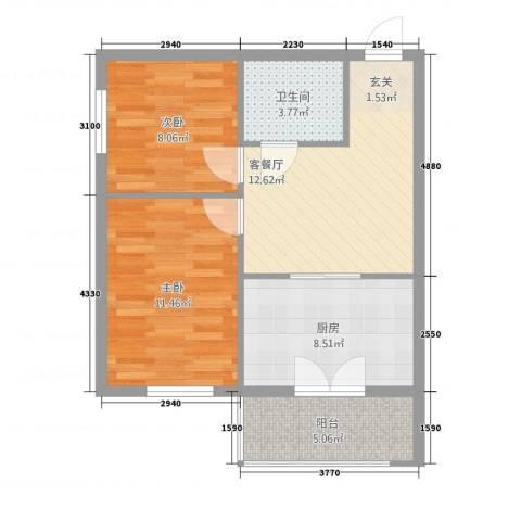 新宏基御景园2室1厅1卫1厨69.00㎡户型图