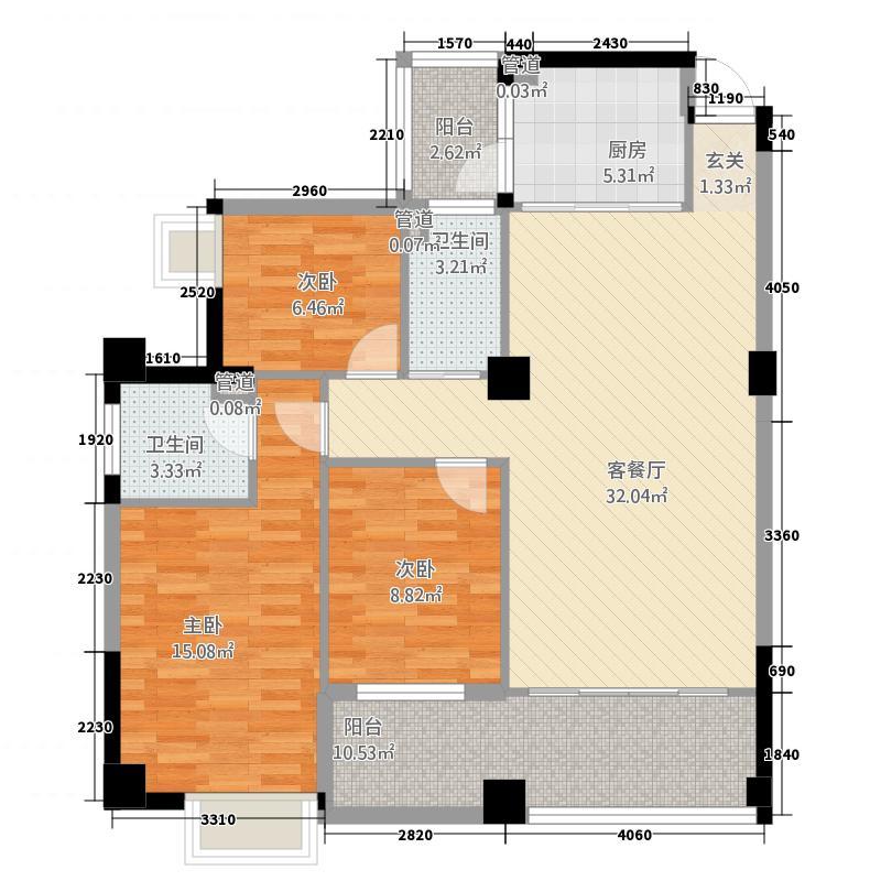 云岭桂园124.46㎡B户型3室2厅2卫1厨