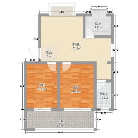 江滨鑫城2室1厅1卫1厨88.00㎡户型图