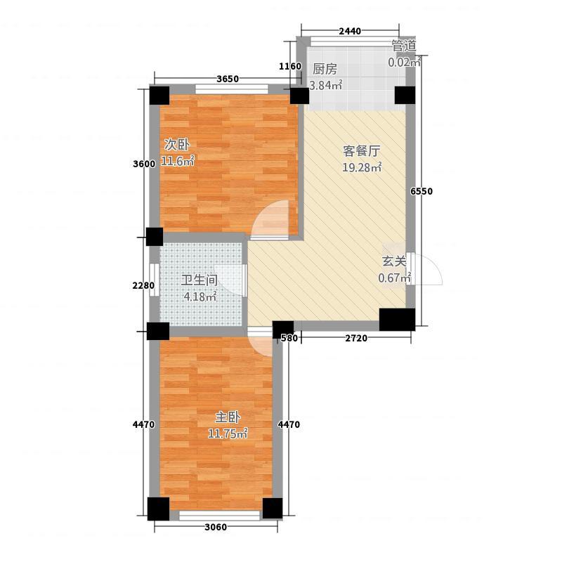 部队大院6.64㎡户型2室2厅1卫1厨