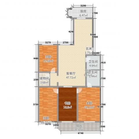 旭然园住宅小区4室1厅2卫1厨144.12㎡户型图