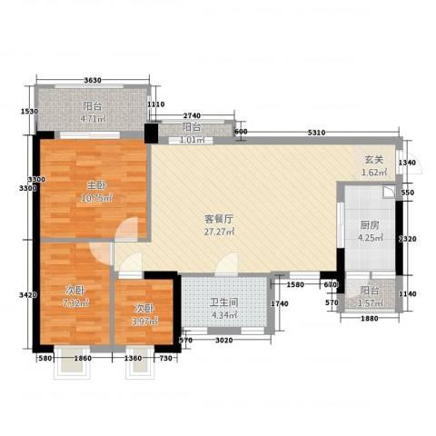 半山雍景苑3室1厅1卫1厨94.00㎡户型图