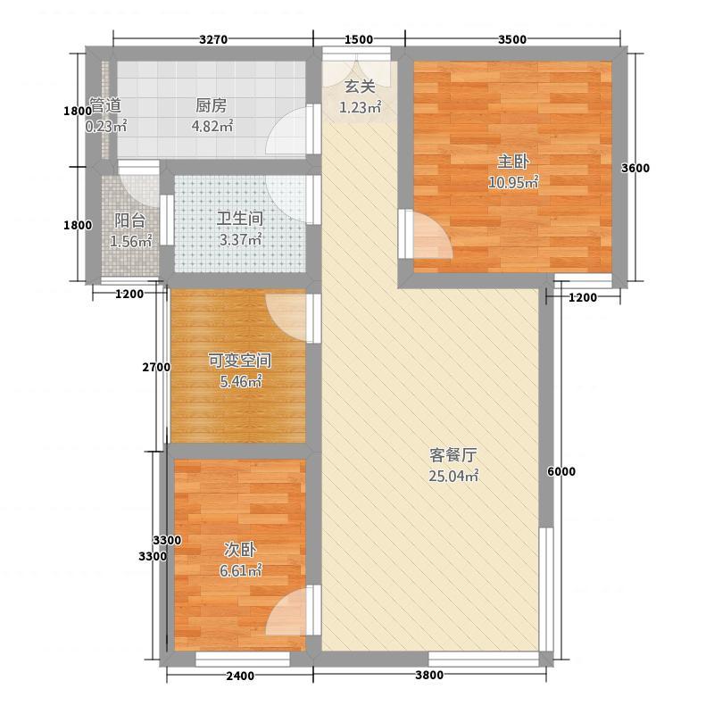 万恒・南城1号77.00㎡A-4户型3室2厅1卫1厨