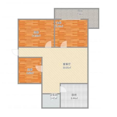 工人新村3室1厅1卫1厨117.00㎡户型图
