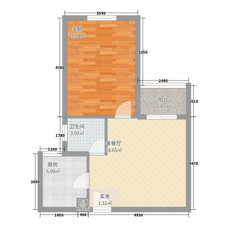 蜂巢・蓝领公寓58.34㎡B1户型1室1厅1卫1厨