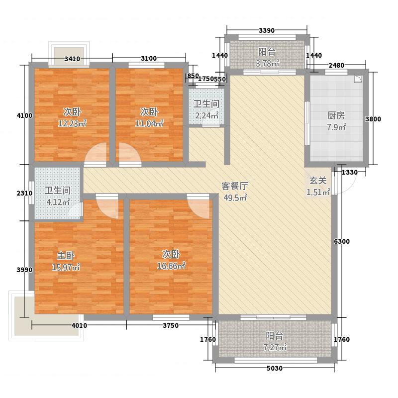 建业城市花园186.00㎡户型4室