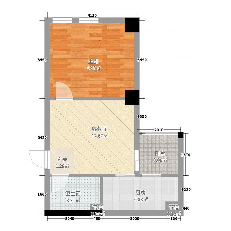 瑞都山水御园二期55.27㎡户型1室1厅1卫1厨