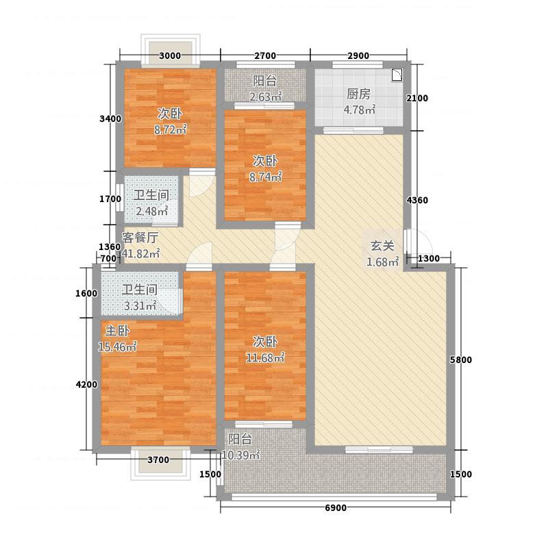 忠良花园135.18㎡S单张户型2厅2卫1厨