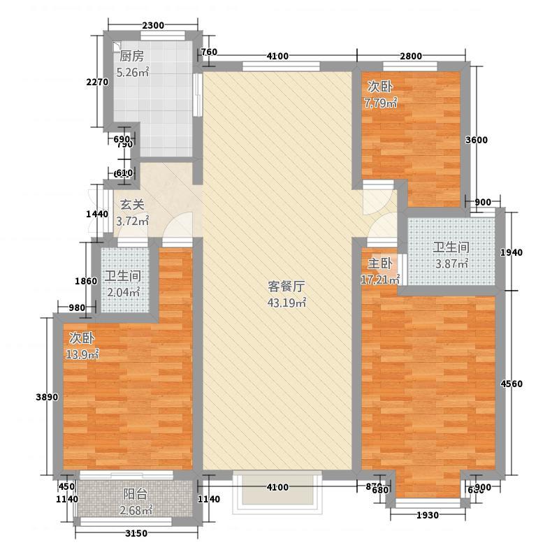 海天城11.65㎡A户型3室2厅2卫1厨
