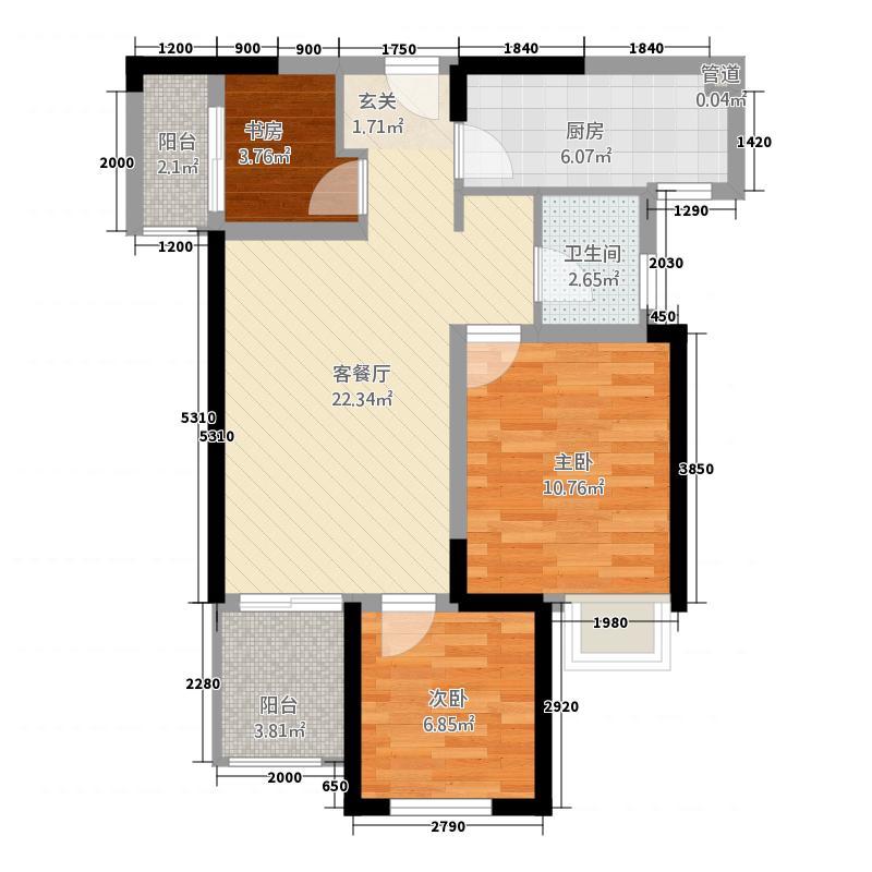 正弘中央公园3室1厅1卫1厨85.00㎡户型图