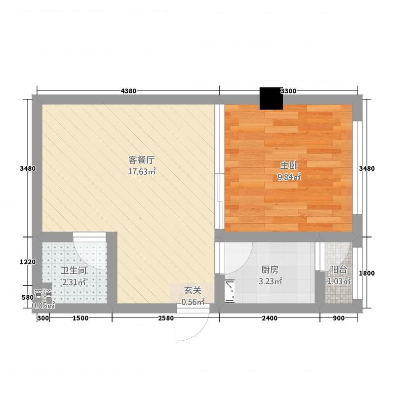 海川国际51.60㎡F户型