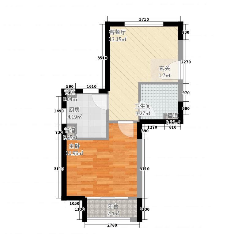一室一厅一卫51㎡户型