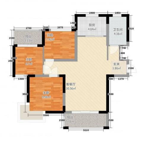 鼎雄・新里城3室1厅1卫1厨72.21㎡户型图