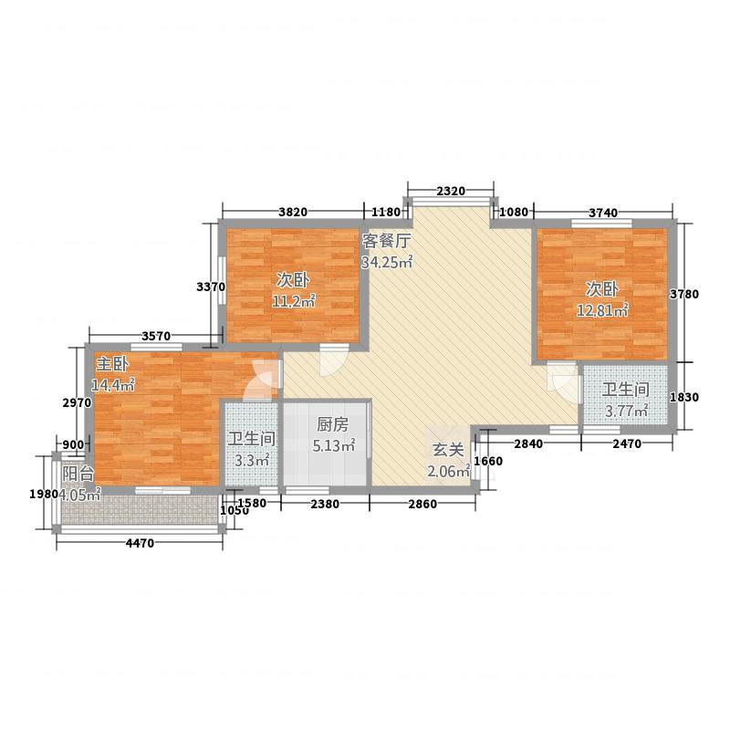 利安东庭11.24㎡A1/A2户型3室2厅2卫1厨