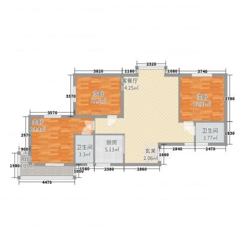利安东庭3室1厅2卫1厨88.92㎡户型图