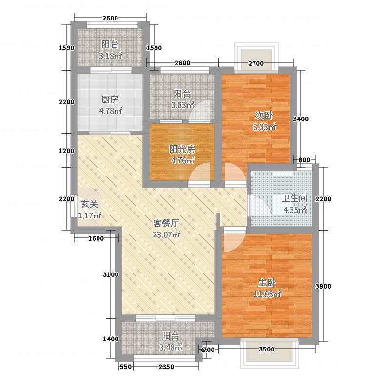 东方第一城三期湖景苑4.00㎡B3户型3室2厅1卫1厨