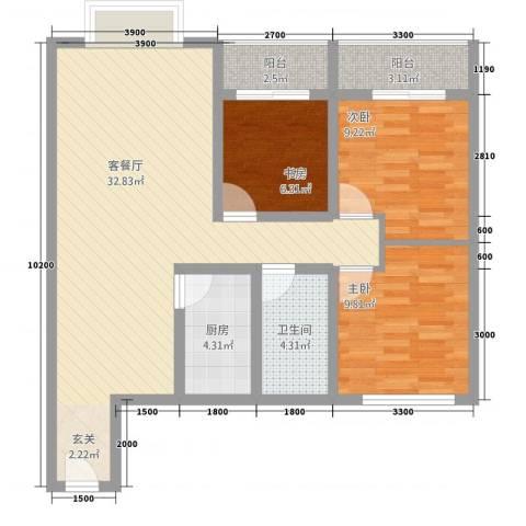 鹏发翡翠园3室1厅1卫1厨72.39㎡户型图