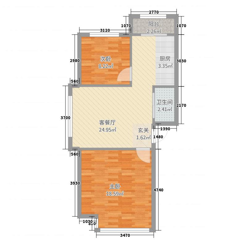 金雨豪苑2居室2户型2室2厅2卫1厨