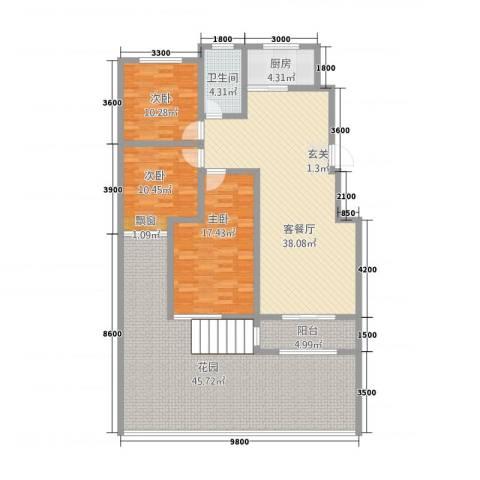 八号公馆3室1厅1卫1厨135.56㎡户型图