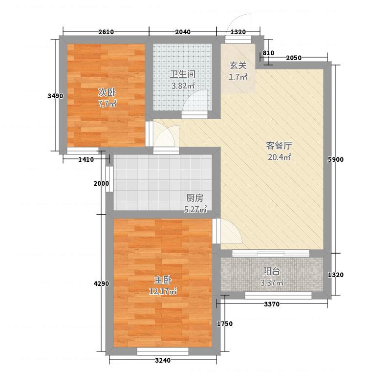 鱼儿山领地77.00㎡户型2室2厅1卫1厨