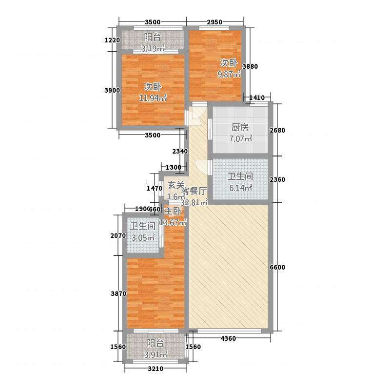 鱼儿山领地134.00㎡户型3室2厅2卫1厨