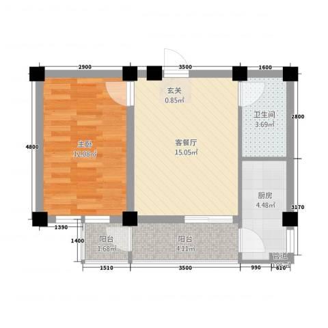 和美雅苑1室1厅1卫1厨151.00㎡户型图