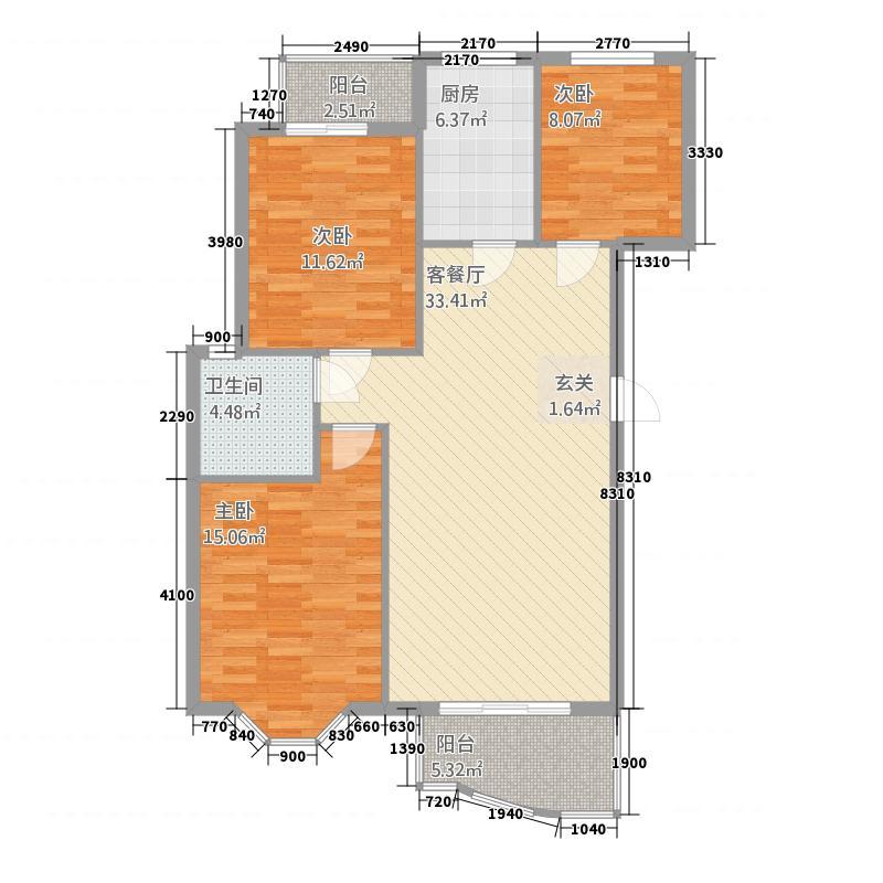 锦绣华府11.75㎡A2--F1-10户型3室2厅1卫1厨