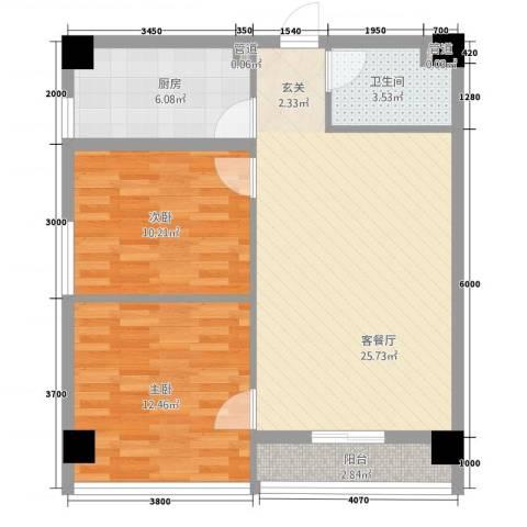 光明华都2室1厅1卫1厨87.00㎡户型图