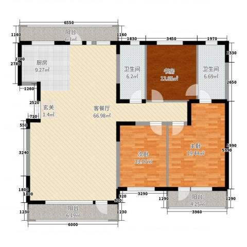 南通花园3室1厅2卫0厨141.86㎡户型图