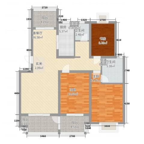 南大和园3室1厅2卫1厨146.00㎡户型图