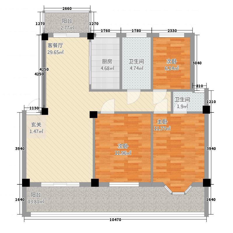 锦绣华府123.60㎡A4--F3户型3室2厅2卫1厨